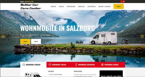 WordPress Seite Wohnmobil Verleih